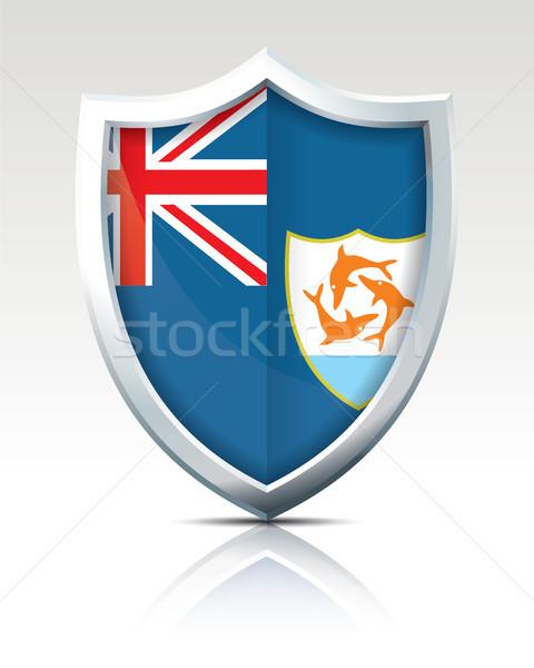 Schild vlag kaart wereld teken silhouet Stockfoto © ojal