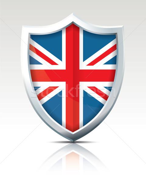 Foto d'archivio: Scudo · bandiera · Regno · Unito · mappa · mondo · blu