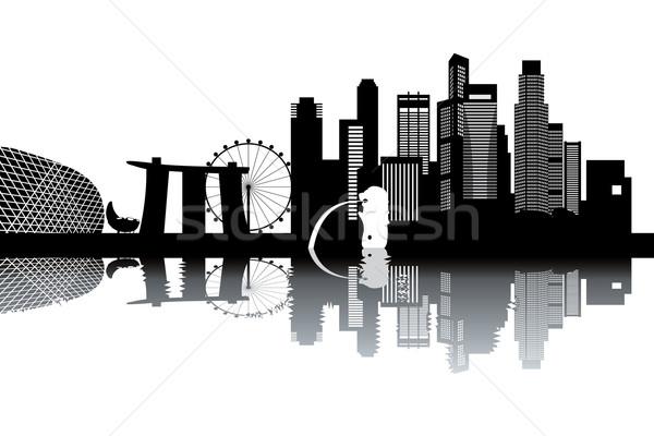 シンガポール スカイライン 黒白 建物 自然 夏 ストックフォト © ojal