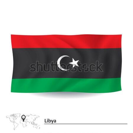 Banderą Libia Pokaż malarstwo czerwony Afryki Zdjęcia stock © ojal