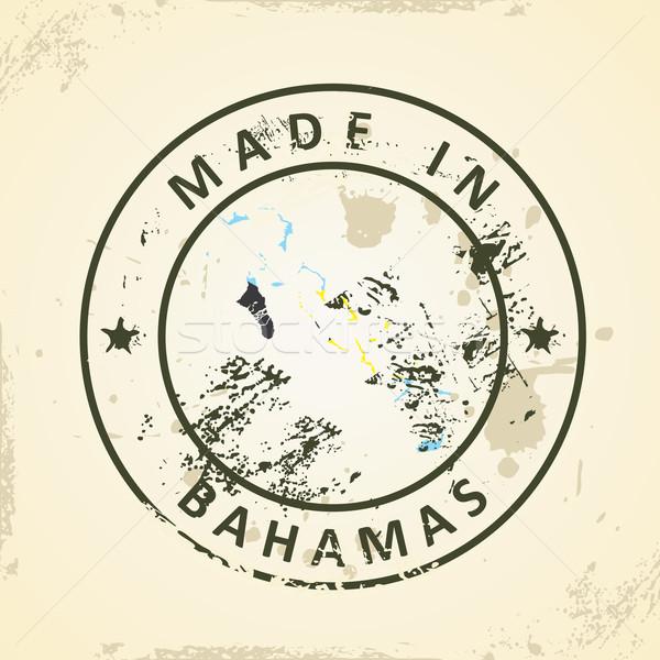 штампа карта флаг Багамские острова Гранж свет Сток-фото © ojal
