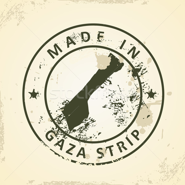 Stamp with map of Gaza Strip Stock photo © ojal