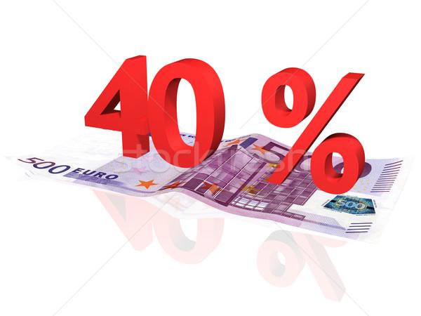 3D renderelt 40 százalék Euro bankjegy Stock fotó © ojal