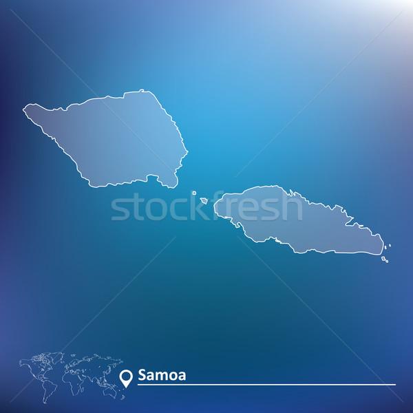 Mapa Samoa textura projeto assinar azul Foto stock © ojal