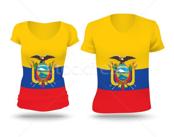 Bayrak gömlek dizayn Ekvador kadın adam Stok fotoğraf © ojal