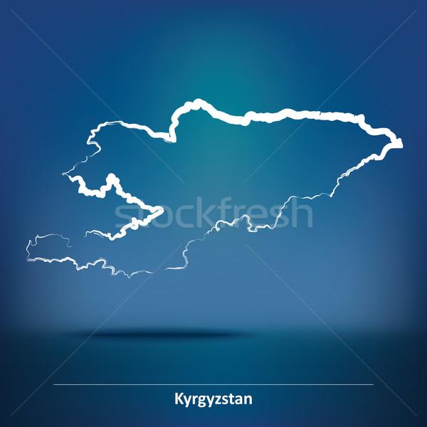 Karalama harita Kırgızistan doku güneş dünya Stok fotoğraf © ojal