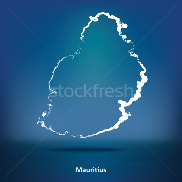 Doodle Map of Mauritius Stock photo © ojal