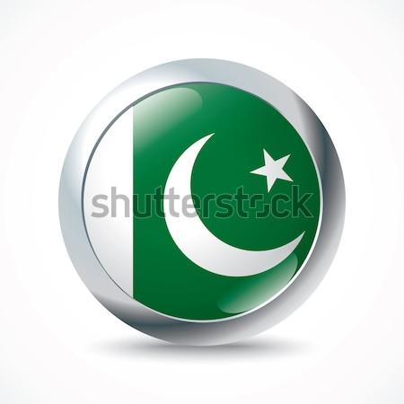 Pakistan vlag knop wereld groene reizen Stockfoto © ojal