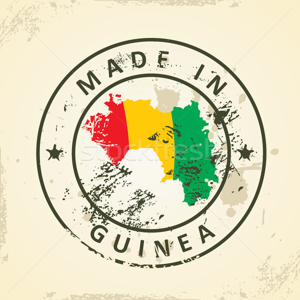 Stamp with map flag of Guinea Stock photo © ojal