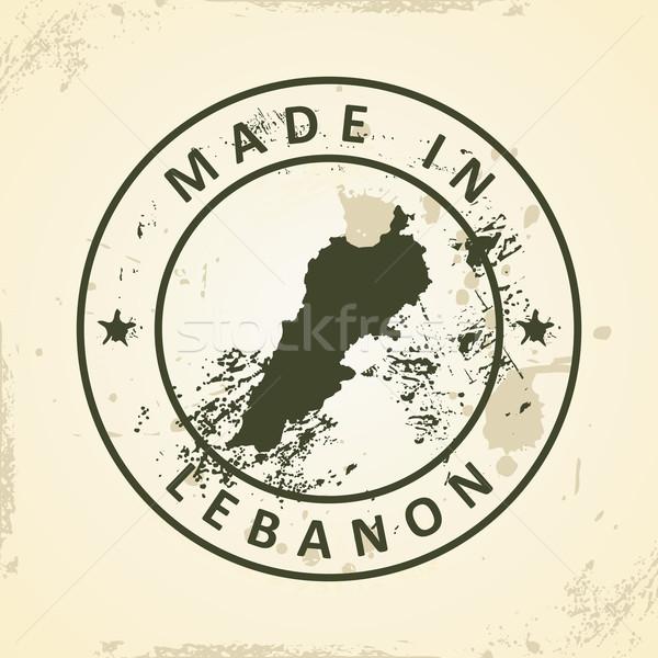 Bélyeg térkép Libanon grunge tenger terv Stock fotó © ojal