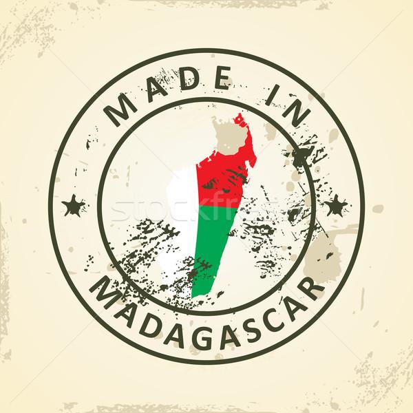 Bélyeg térkép zászló Madagaszkár grunge világ Stock fotó © ojal
