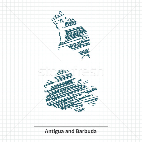 Doodle sketch of Antigua and Barbuda map Stock photo © ojal
