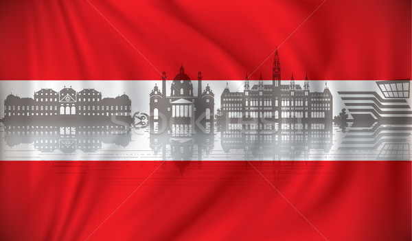 Flag of Austria with Vienna skyline Stock photo © ojal