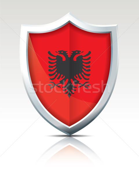 Сток-фото: щит · флаг · Албания · текстуры · карта · природы
