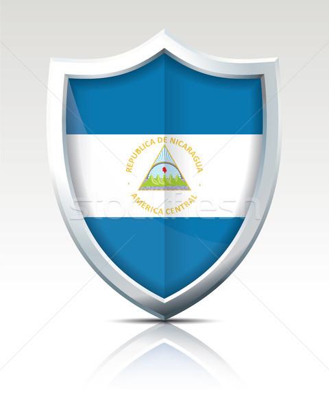 Escudo bandeira Nicarágua mapa mundo montanha Foto stock © ojal