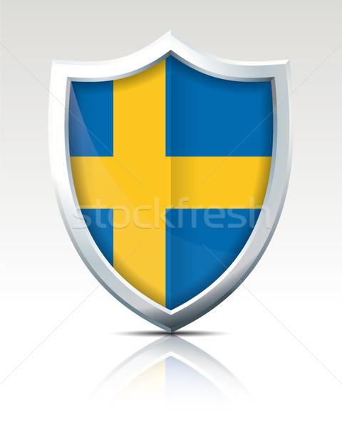 Scudo bandiera Svezia mondo blu viaggio Foto d'archivio © ojal