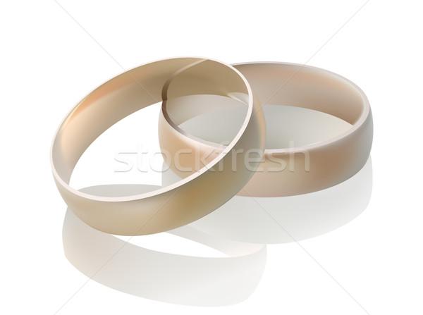 вектора обручальными кольцами иллюстрация отражение свадьба вечеринка Сток-фото © ojal