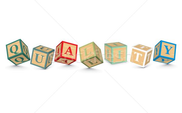 ストックフォト: 言葉 · 品質 · 書かれた · アルファベット · ブロック · ビジネス