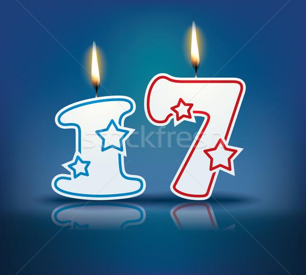 Verjaardag kaars aantal 17 vlam eps Stockfoto © ojal