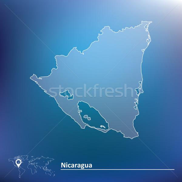 Mapa Nicarágua mundo verde viajar lago Foto stock © ojal