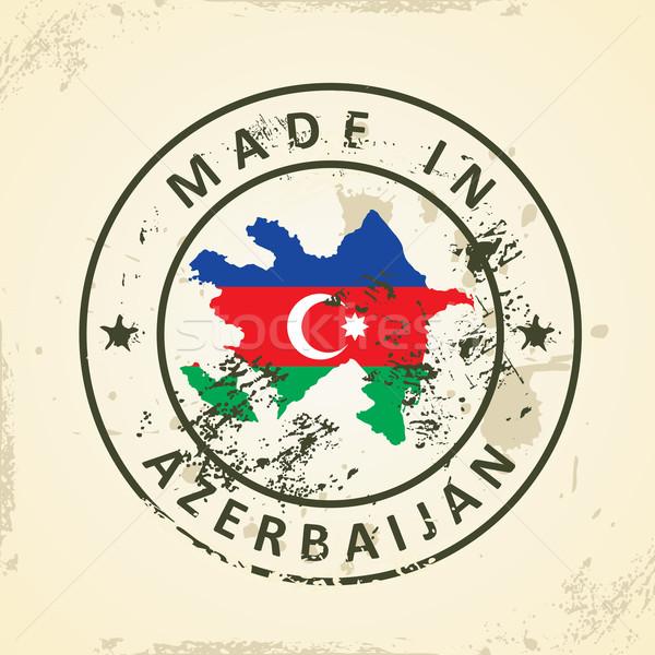 Sello mapa bandera Azerbaiyán grunge textura Foto stock © ojal