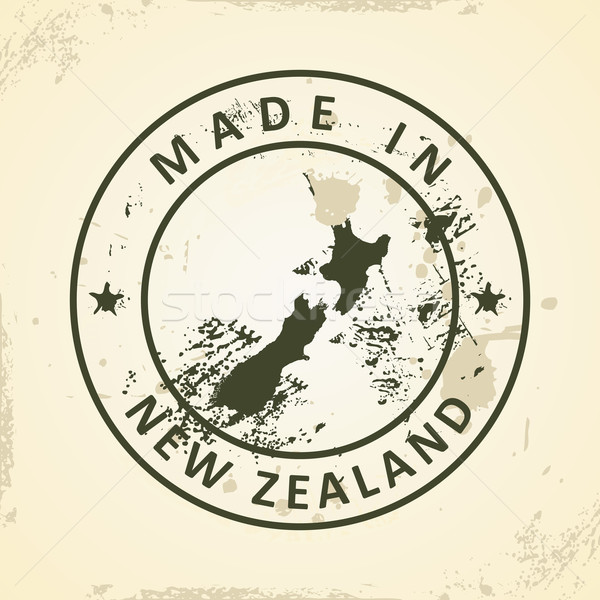 Stamp with map of New Zealand Stock photo © ojal