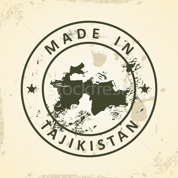 штампа карта Таджикистан Гранж текстуры Мир Сток-фото © ojal