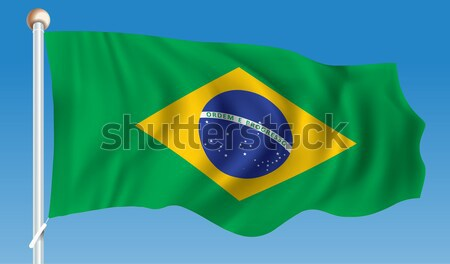 Bayrak Brezilya soyut futbol imzalamak mavi Stok fotoğraf © ojal