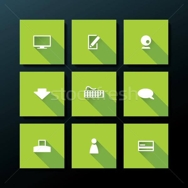 Vektor webes ikon szett számítógép telefon térkép Stock fotó © ojal