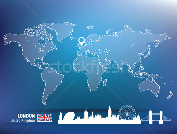 Map pin with London skyline Stock photo © ojal