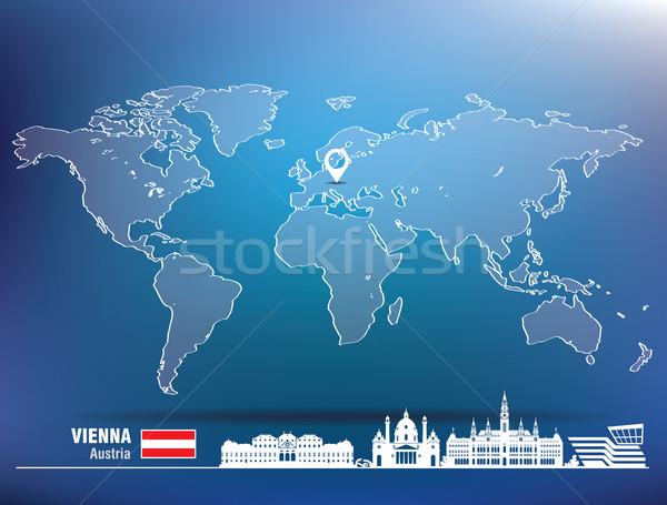 Map pin with Vienna skyline Stock photo © ojal