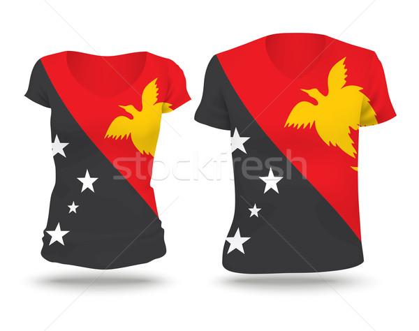 флаг рубашку дизайна Папуа-Новая Гвинея женщину человека Сток-фото © ojal