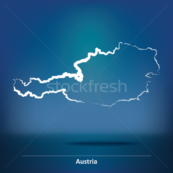 Doodle mappa Austria texture abstract luce Foto d'archivio © ojal