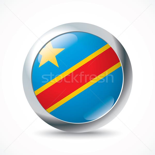 Democrático república Congo bandera botón viaje Foto stock © ojal