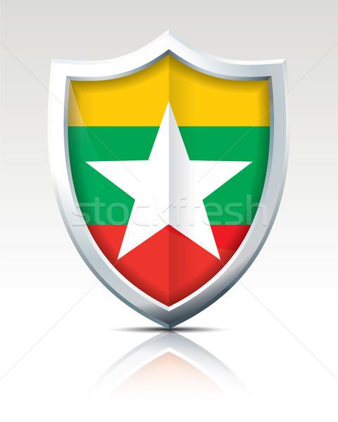Schild vlag birma ontwerp achtergrond star Stockfoto © ojal