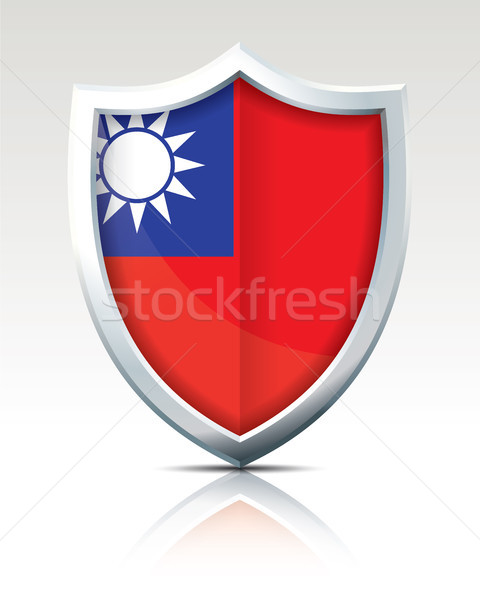 Kalkan bayrak Tayvan mavi star kırmızı Stok fotoğraf © ojal