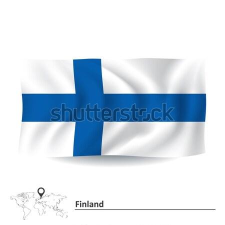 Bayrak Finlandiya doku harita arka plan sanat Stok fotoğraf © ojal