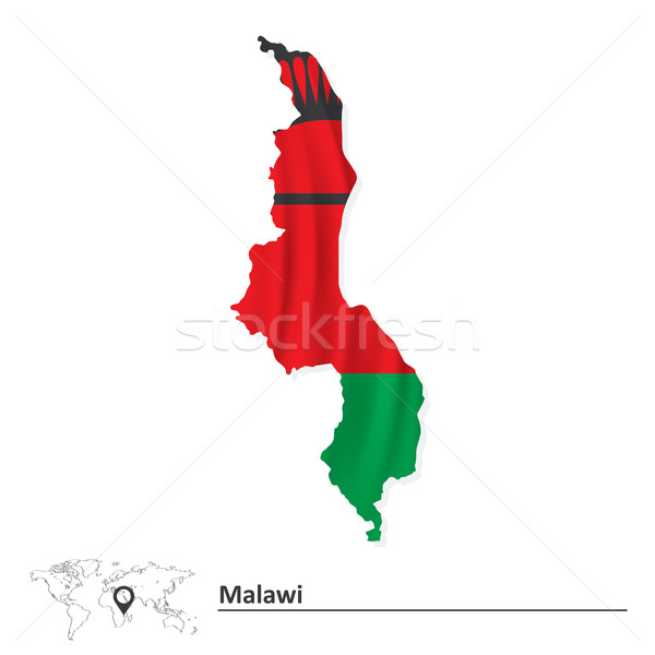 Map of Malawi with flag Stock photo © ojal