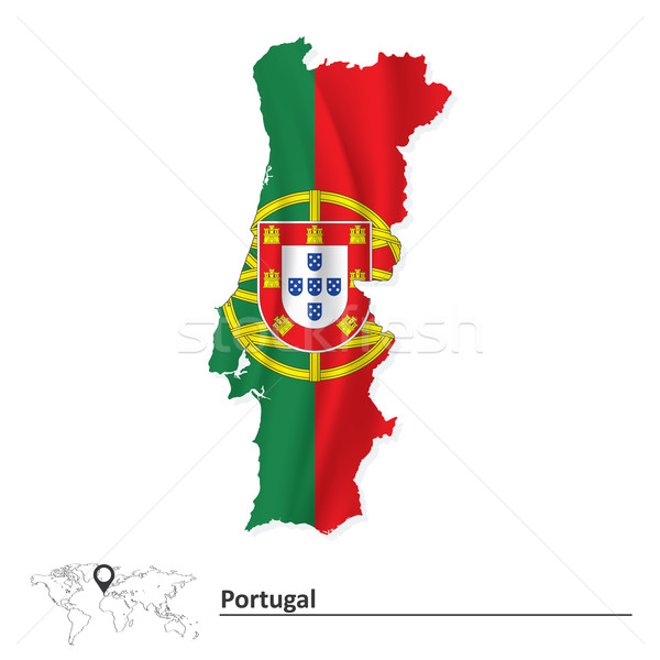 Map of Portugal with flag Stock photo © ojal