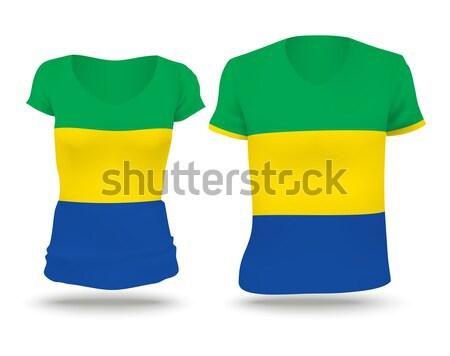 флаг рубашку дизайна Габон женщину человека Сток-фото © ojal