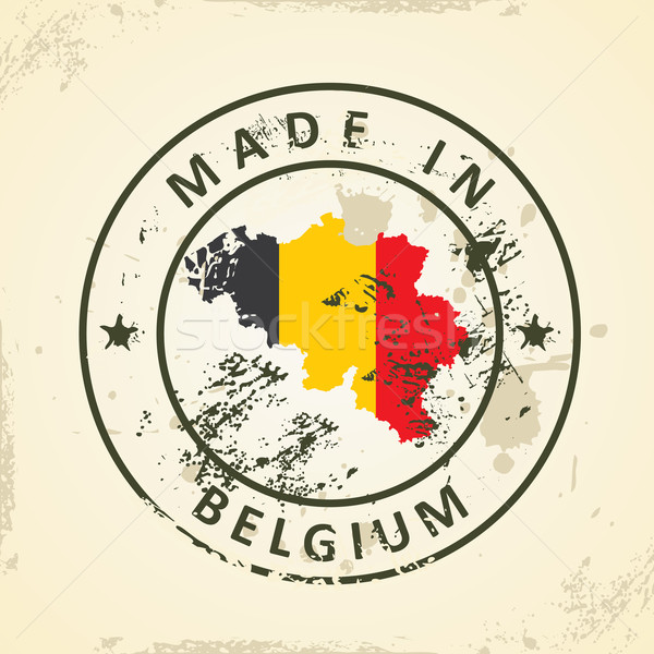 Stamp with map flag of Belgium Stock photo © ojal
