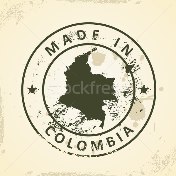 Stamp with map of Colombia Stock photo © ojal