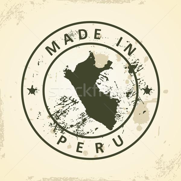 スタンプ 地図 ペルー グランジ テクスチャ 抽象的な ストックフォト © ojal