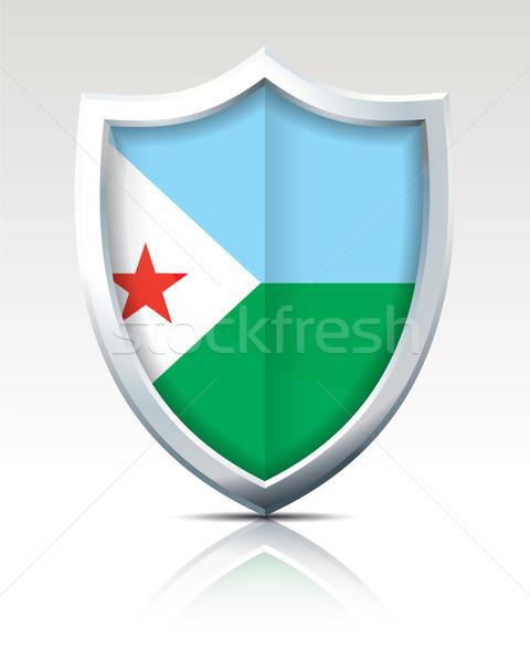 Tarcza banderą Dżibuti Pokaż streszczenie projektu Zdjęcia stock © ojal