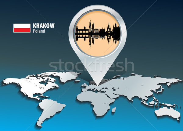 Mapa pin cracovia horizonte edificio ciudad Foto stock © ojal