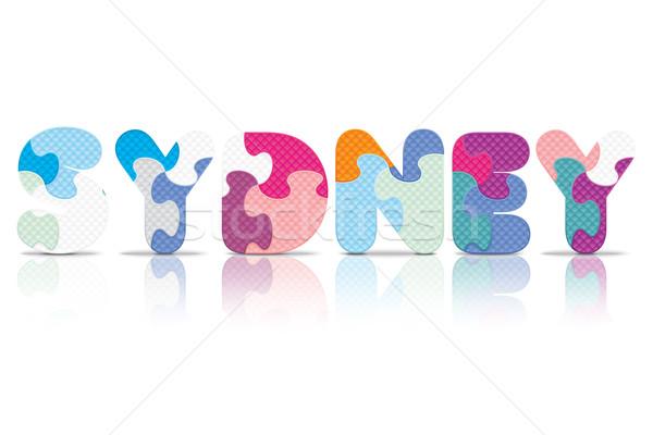 Vector Sydney geschreven alfabet puzzel liefde Stockfoto © ojal
