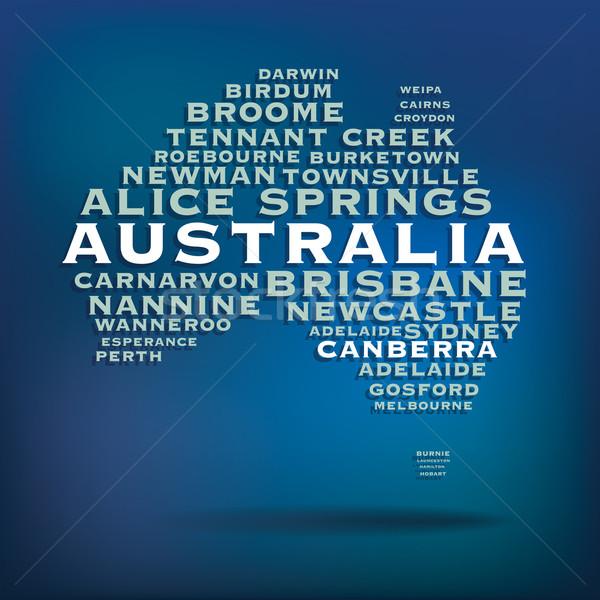 Austrália mapa nome cidades abstrato projeto Foto stock © ojal