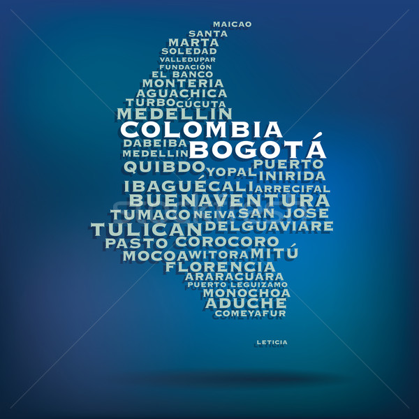Colombia map made with name of cities Stock photo © ojal