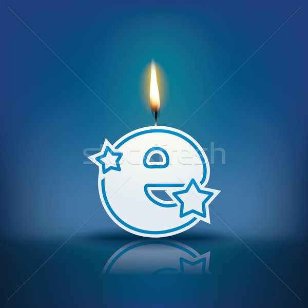 Candle letter e with flame Stock photo © ojal