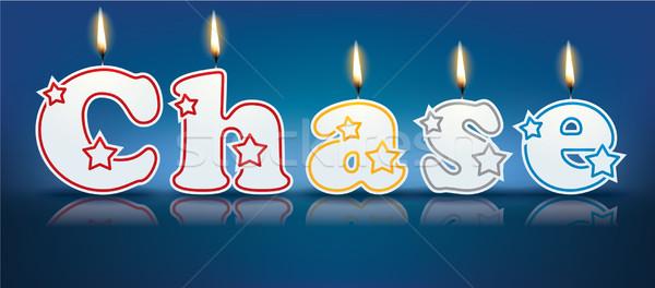 Inseguimento scritto brucia candele luce compleanno Foto d'archivio © ojal
